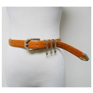 Brighton 3 charm brown leather belt . Made in USA